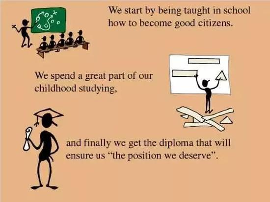 We spend a great part of our childhood studying.
